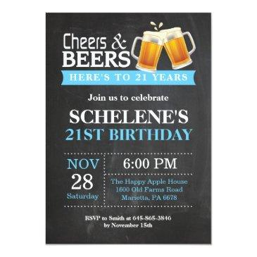 Small Cheers And Beers 21st Birthday Invitation Front View