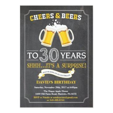 cheers and beers 30th birthday invitations