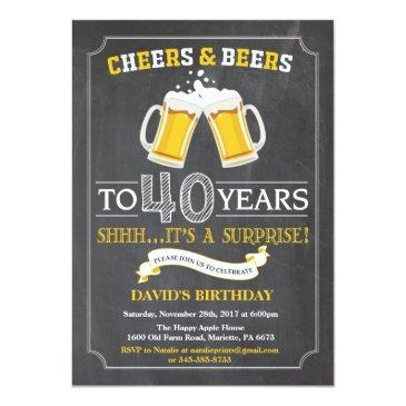 cheers and beers 40th birthday invitations