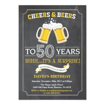 cheers and beers 50th birthday invitations
