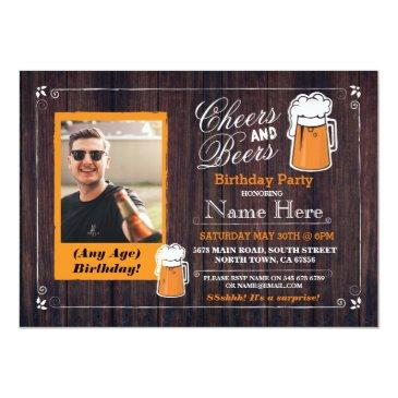 Small Cheers & Beers Birthday Party Beer Photo Invite 21 Front View