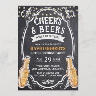 cheers & beers rustic chalkboard 30th birthday invitation