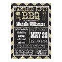 chevron bbq 50th birthday party invitation
