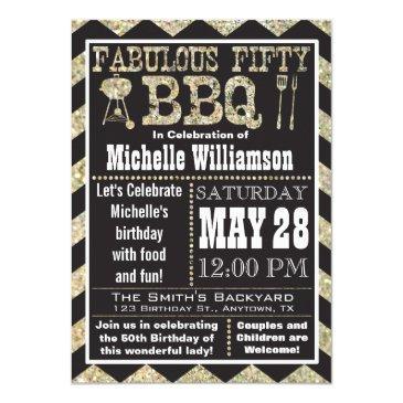 Chevron Bbq 50th Birthday Party Invitation