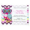 chevron retro groovy owl birthday party invitations