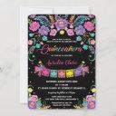 chic mexican floral quinceañera 15 anos birthday invitation