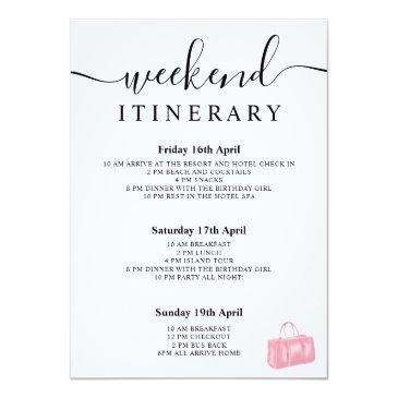 Small Chic Pink Watercolor Bag Birthday Program Weekend Back View