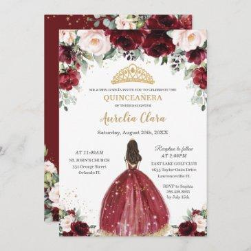 chic quinceañera burgundy blush floral princess invitation
