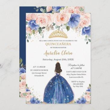 chic quinceañera royal blue blush floral princess invitation