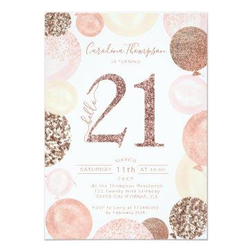 Small Chic Rose Gold Glitter Pink Balloon Photo 21st Invitation Front View