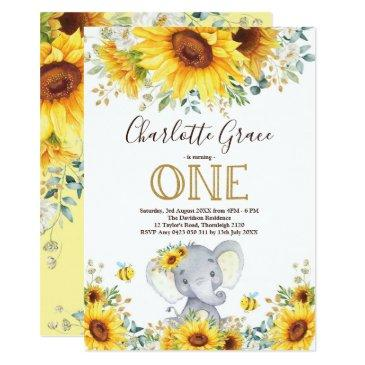chic sunflower elephant greenery gold 1st birthday invitation