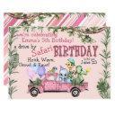 child pink safari happy birthday parade invitation