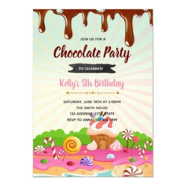 chocolate candyland birthday invitation