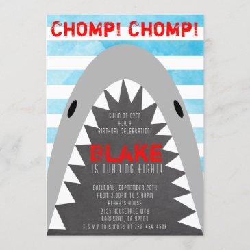 chomp chomp shark theme birthday boy striped jaws invitation