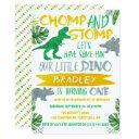 chomp & stomp! dinosaur boys 1st birthday invitation