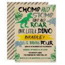 chomp & stomp! dinosaur boys 4th birthday invitation
