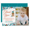 christmas blue deer birthday thank you photo invitations