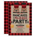 christmas pancakes and pajamas invite lumberjack