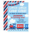 chugga chugga choo choo boys train 1st birthday invitation
