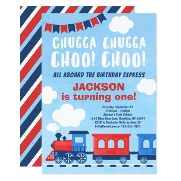 chugga chugga choo choo boys train 1st birthday invitation