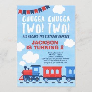chugga chugga two two boys train 2nd birthday invitation
