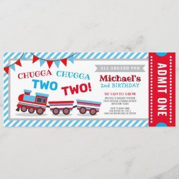 chugga chugga two two train ticket birthday invitation