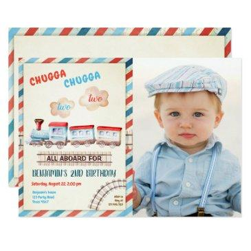 chugga two train choo boy red blue 2nd birthday invitation