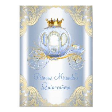 cinderella blue gold princess quinceanera invitation