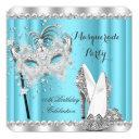 cinderella blue masquerade mask heels birthday invitation