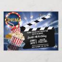 cinema movie time boy birthday popcorn invitation