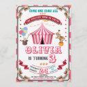 circus birthday invitation vintage carnival kids