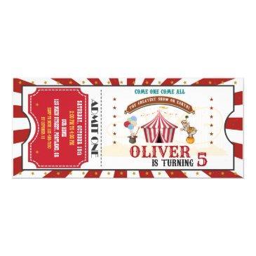circus birthday invitation vintage carnival ticket