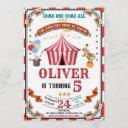 circus birthday invitation vintage festival invite