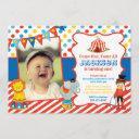 circus birthday invitation with photo