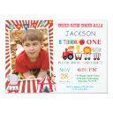 circus carnival birthday party photo invitation