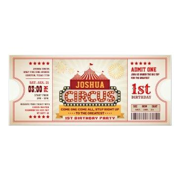 circus ticket first birthday invitation