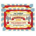 circus vip ticket birthday party invitation