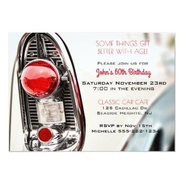 classic car mid century tail light invitation