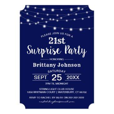Small Classic Navy Surprise Birthday Invitation Front View