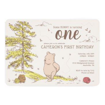 classic winnie the pooh | first birthday invitation