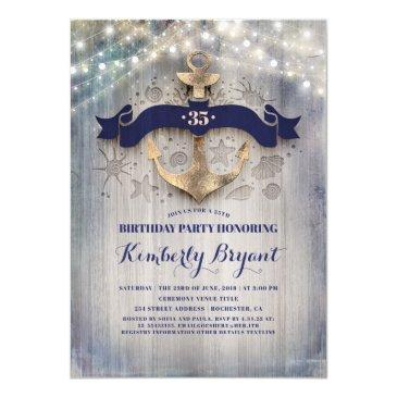 coastal nautical golden anchor birthday party invitation