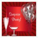cocktail balloons red surprise birthday party invitation