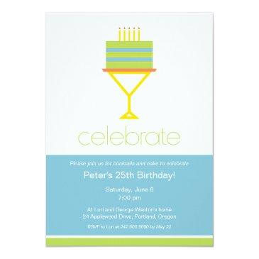 cocktails & cake birthday party invitations
