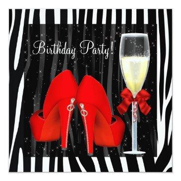 cocktails red high heel shoes zebra birthday invitation