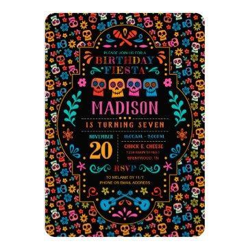 coco colorful birthday fiesta invitation