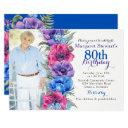 colorful anemone floral photo 80th birthday invitation