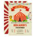 colorful carnival circus kids birthday invitation