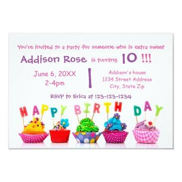 colorful cupcake - 3x5 girl birthday invitations