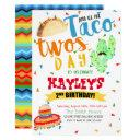 colorful fiesta watercolor taco party 2nd birthday invitation