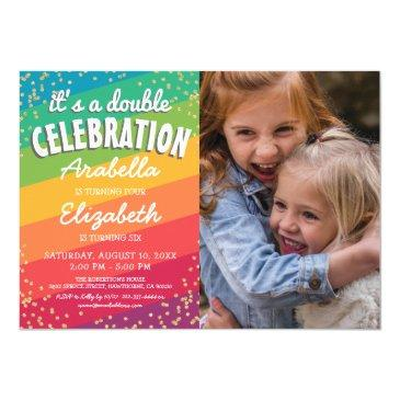 colorful joint sibling photo birthday party invitation